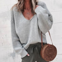 Explosive sweater wish new autumn and winter V-neck long-sleeved sweater