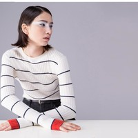 """SOLID STRIPED"" SWEATER"