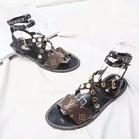 Louis Vuitton LV Fashion New Print Women High Quality Leisure Sandals Slippers Shoes Coffee