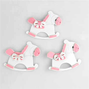 Baby Shower Foam Decoration, 2-1/2-inch, 3-Piece, Rocking Horse, Light Pink