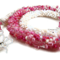 Bead Crochet Necklace Fantasia Pink in Pink Fucshia by lanmom