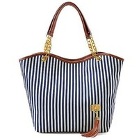 Hunnt Tobey New Fashion Stripe Design Women Street Snap Candid Tote Single Shoulder Canvas Bag Handbag Three Colors Available Red Blue Black (Blue)