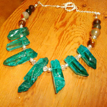 Aquamarine crystal bohemian statement necklace, crystal geode necklace, aquamarine necklace, amber necklace, boho necklace, healing crystals