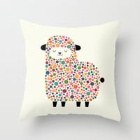 Bubble Sheep Throw Pillow by Andy Westface