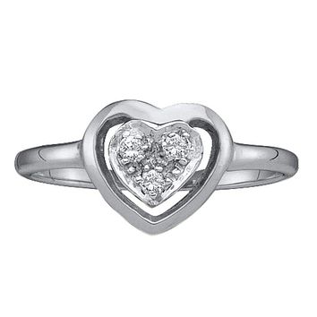 10kt White Gold Women's Round Diamond Simple Heart Cluster Ring 1/20 Cttw - FREE Shipping (US/CAN)
