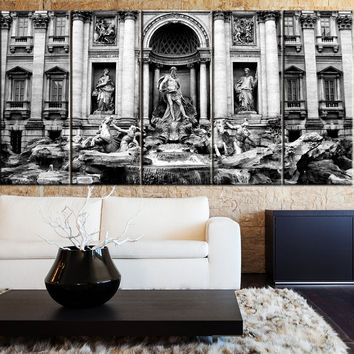 Large Wall Art Canvas Print Trevi Fountain in Rome Canvas Print Framed 5 Panel Canvas -  Trevi Fountain in Rome Italy Art Canvas Print