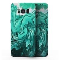 Bright Trendy Green Color Swirled - Samsung Galaxy S8 Full-Body Skin Kit