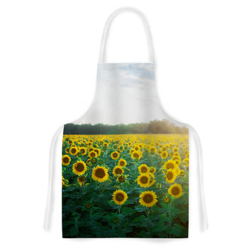 "Chelsea Victoria ""Sunflower Fields"" Floral Photography Artistic Apron"