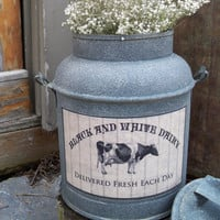 Rustic Metal milk can vintage look Milk label farmhouse kitchen dairy farm breakfast rusty cow black and white