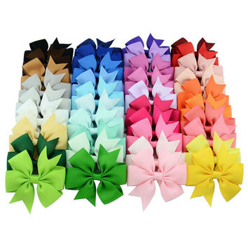40pcs 40 Colors  Baby Girl Ribbon Bows Clips Hairpin Girl's hairbows Boutique Hair Clip Headware Kids Hair Accessories 564