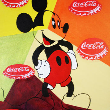 ART et Collections Mickey Mouse Coca-Cola Capsules Vintage Colored Modern Painting Art Deco Contemporary Acrylic Kids By Kathleen Artist Pro