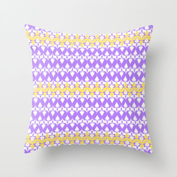 Artistic violet yellow stripes pattern Throw Pillow by cycreation