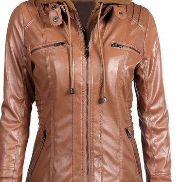 Fashion Black Faux Leather Jacket Women Long Sleeve Hooded Leather Jacket Ladies Zipper Motorcycle Coat Outerwear