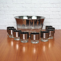 Vintage Mid Century Silver Fade Glass Punch Bowl Set with 9 Glasses