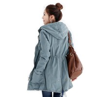 Fancy Dress Store Women's 2Color Korean Outerwear Hooded Trench Anorak Jacket