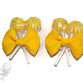 Yellow Lollipop  Hair Clips x 2, Flower Girl Accessory, Candy Hair Clip, Wedding, Bridesmaid Accessory, Sweet Sixteen, Yellow, Lollipop