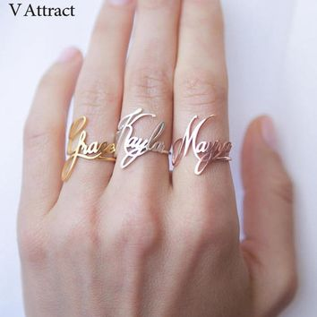 Stacking Custom Name Ring Personalized Bijoux Femme Bridesmaid Gift Stainless Steel Jewerly Adjustable Bague Wedding Rings Women