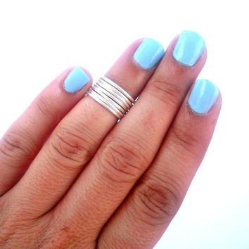 7 Above the Knuckle Rings - Silver thin rings - Simple rings -  Above Knuckle Ring - set of 7 stack midi rings by Tiny Box