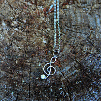Sterling Silver Treble Clef Necklace- Music Note Necklace, Note Necklace, Sterling Silver, Silver Necklace, Treble Clef, Cubic Zirconia