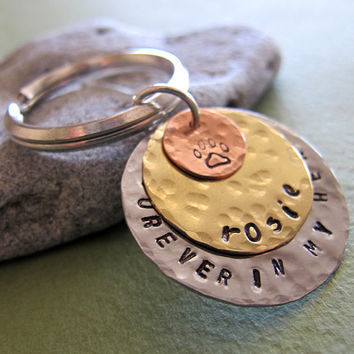 Personalized Pet Name Keychain / Custom Keychain / Pet Lovers Charm / Dog ID Tag.