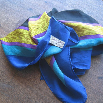 Blue Silk Scarf with Purple, Turquoise, Yellow & Black - Vintage Anne Klein Blue Silk Scarf - Black/Blue Head Wrap - '70s Designer Scarf