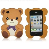 Detachable Bear Hard Case for iPhone 4S / 4 - Brown
