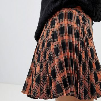 Fashion Union Pleated Mini Skirt In Check at asos.com