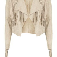 **Draped Fringe Jacket by Glamorous - Sand