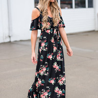 May Flowers Cold Shoulder Floral Maxi Dress (Black)