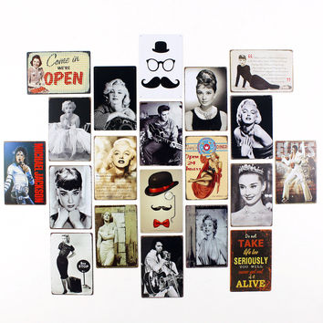 50 Shades of Marilyn Monroe Audrey Hepburn Elvis Daisy Diner Come In We are Open Tin Signage Wall Art Decor Vintage Retro Mix 15x20cm