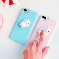 Squishy Cat 3D Phone Case for iPhone 6 6S 7 Plus Squeeze Cat Phone Case