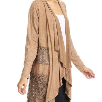 Suede Look and Lace Cardigan