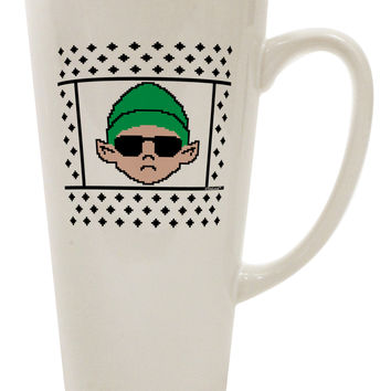 Cool Elf Christmas Sweater 16 Ounce Conical Latte Coffee Mug