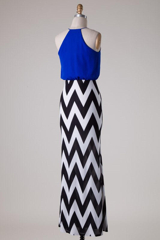 46b19a412 Chevron Bottom Solid Top Maxi Dress - from Blue Chic Boutique