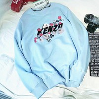 KENZO Embroider Casual Women's Long Sleeve Hoodies Sweater G-A-XYCL