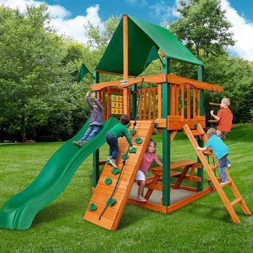 Gorilla Playsets Chateau Tower Deluxe Wooden Swing Set