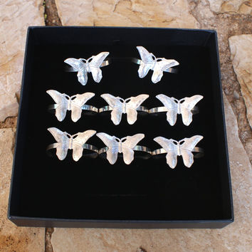 Napkin rings, sterling silver, butterfly, set of 4, silver 925 serviette rings, wedding gift, silver anniversary, housewarming gift