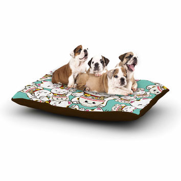 """Juan Paolo """"Ramen Cats"""" Teal White Dog Bed"""
