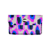 Radiant Orchid Purple and Electric Blue Wallet, Coin Purse, Neon Leather Pouch, Business Card Holder | Boo and Boo Factory - Handmade Leather Jewelry