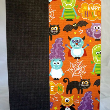 Halloween Card Monster Card Kids Card Hand Made Card Handmade Halloween Card Kraft Paper Card Halloween Not So Scary Halloween