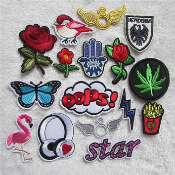 high quality Mixed Cartoon Pattern Embroidered Patches Iron On Fabric Patches Appliques Patches For Clothing Kids Jeans 16PCS