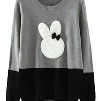 Gray Contrast Rabbit Pattern Long Sleeve Knitted Sweater
