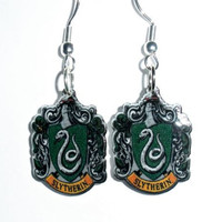 Harry Potter Slytherin House Emblem Earrings by NMDCreations