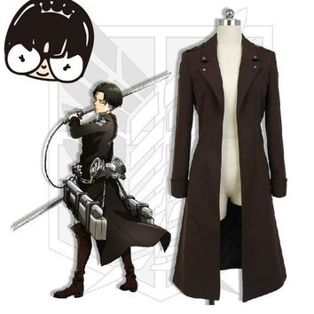 Cool Attack on Titan Anime  Trench Coat Men Handsome Brown no  Outwear Daily Use Copslay Cloth AT_90_11