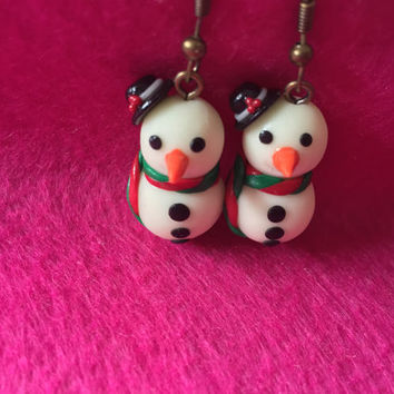 Christmas Earrings | Polymer Clay Snowman Earrings | Glowing Snowman | Christmas gifts | Snowman Dangle Earrings | Snowman cute Earrings