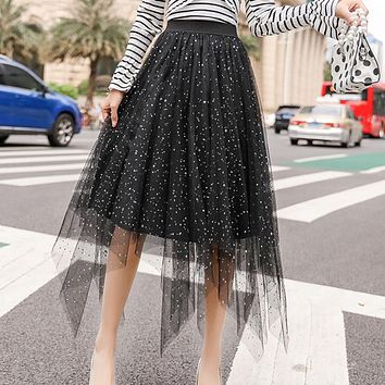 ONLYWONG Summer Women High Waist Skirt Star Sequined Tulle Skirt 3 layers Blingbling Mesh Pleated Skirt Lolita Style Midi Skirt