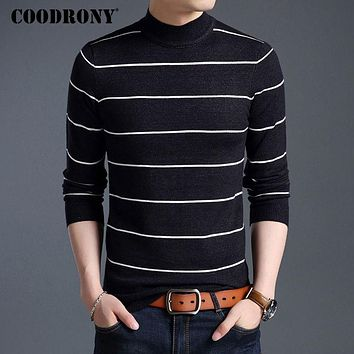 Winter Warm Turtleneck Sweater Male Cashmere Wool Pullover New Men Knitted Sweaters Casual Striped Pull Home