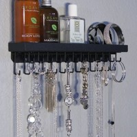 Wall Necklace Holder Organizer Jewelry Storage Rack Closet Organizer w/Perfume Tray (Schelon Black)