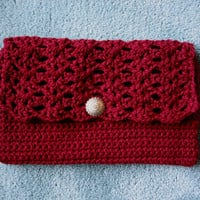 Crocheted Burgundy Clutch Purse by bb2213 on Etsy