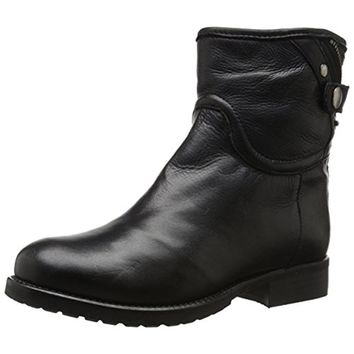 Dune London Womens Pardew Leather Faux Fur Motorcycle Boots
